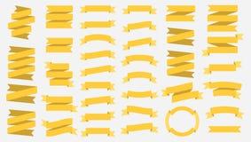 Vektorbandbaner som isoleras på vit bakgrund Gulingband Ställ in av 37 gula bandbaner Malldesignbeståndsdelar royaltyfri illustrationer