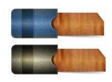 Vektorbaner av jeans och papp royaltyfri illustrationer