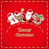 Vektorbaner: det gulliga diagramet Santa Claus, snögubben, hjort, pepparkakaman i jeans stoppa i fickan och räcker utdragen text  Arkivbilder