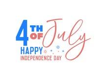 Vektorbaner för amerikan 4th Juli, självständighetsdagen med text, USA flaggafärger, fyrverkeribeståndsdelar royaltyfri illustrationer