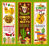 Vektorbaner för Cinco de Mayo Mexican ferie royaltyfri illustrationer