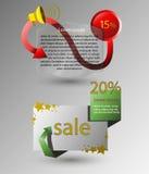 Vektorbaner för design, shoppar, försäljningen, rabatter Arkivfoton