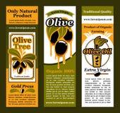 Vektorbaner för oliv och olivoljaprodukt royaltyfri illustrationer