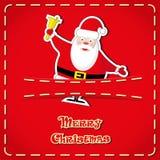Vektorbaner: gulliga statyetter Santa Claus i jeans stoppa i fickan och räcker utdragen text glad jul Arkivbild