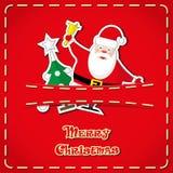 Vektorbaner: gulliga statyetter Santa Claus, julträd i jeans stoppa i fickan och räcker utdragen text glad jul Fotografering för Bildbyråer