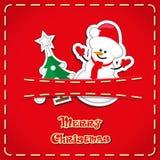 Vektorbaner: gulliga statyetter snögubben, julträd i jeans stoppa i fickan och räcker utdragen text glad jul Arkivbild