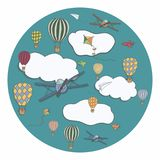 Vektorbaner med baloons för varm luft Arkivfoto
