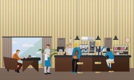 Vektorbaner med restauranginre Folk som har lunch i kafé och stång vektor illustrationer