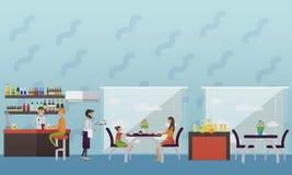 Vektorbaner med restauranginre Folk som har lunch i kafé och stång stock illustrationer