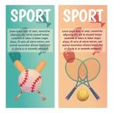 Vektorbaner med sportsymboler tennis _ Plan illustration royaltyfri illustrationer