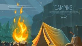 Vektorbaner på temat av att campa och att fotvandra och att klättra och att gå sportar Royaltyfria Bilder