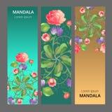 Vektorbaneruppsättning med den blom- prydnaden Steg tulpan, blad Rund prydnad royaltyfri illustrationer