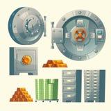Vektorbankvalv, metallisk järnkassaskåpdörr stock illustrationer
