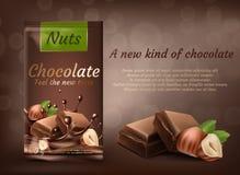 Vektorbanret av mjölkar choklad med hasselnötter royaltyfri illustrationer