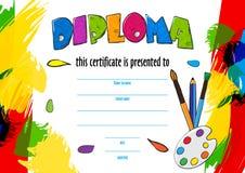 Vektorbarns diplom för leveransen på en idérik strid royaltyfri illustrationer