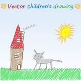 Vektorbarns teckning av huset och katten för solig dag vektor illustrationer