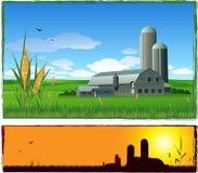 Vektorbauernhof-Landschaftshintergrund Lizenzfreie Stockfotos