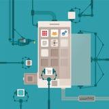 Vektorbegrepp av den mobila utvecklingsprocessen för programvaruapplikation Arkivfoto