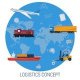 Vektorbegrepp av globalt trans. för logistik Stock Illustrationer