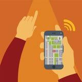 Vektorbegrepp av gps-navigering på smartphonen Arkivbild