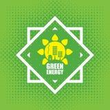 Vektorbegrepp av grön energi med solpaneler Arkivbilder