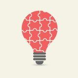 Vektorbegrepp av idérik teamwork med pusslet för ljus kula Royaltyfri Bild