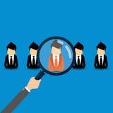 Vektorbegrepp av sökande för yrkesmässigt material, headhunterjobb, anställningfråga, personalresursledning eller analysering per Royaltyfri Foto