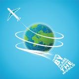 Vektorbegrepp för flygresa runt om världen stock illustrationer