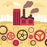 Vektorbegrepp - fabriksbyggnad och landskap Royaltyfri Bild