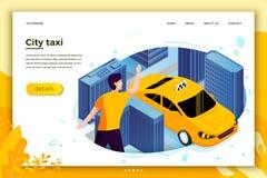 Vektorbegreppsillustrationen - man att fånga taxitaxin vektor illustrationer