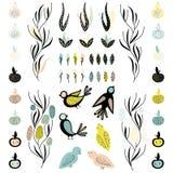 Vektorbeståndsdelar av fåglar, blommor, bladet och frukter Kopiera utrymme vektor illustrationer