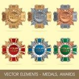 Vektorbeståndsdelar - medaljer, utmärkelser stock illustrationer