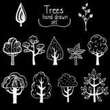 Vektorbeståndsdelar, träd dragit färgpulver Arkivfoto