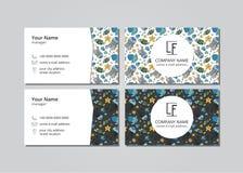 Vektorbesuchskarten-Blauquallen Lizenzfreies Stockbild