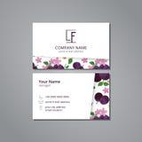 Vektorbesuchskartenschablonen-Pflaumenblüte Stockfotos