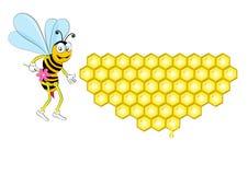 bi och honungskaka Royaltyfria Bilder