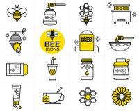 Vektorbi- och honungsymbol stock illustrationer