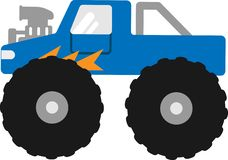 Vektorbigfoot bil på en vit bakgrund stock illustrationer