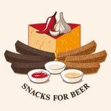 Vektorbild av ölmellanmål stock illustrationer