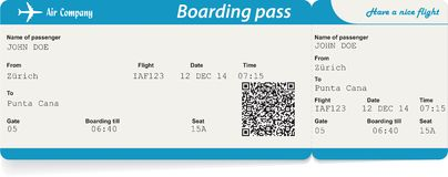 Vektorbild av biljetten för flygbolaglogipasserande Royaltyfri Foto