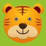 Vektorbild av den gulliga framsidan av tigern stock illustrationer