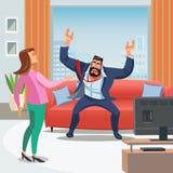Vektorbild av den stressiga hem- miljön vektor illustrationer
