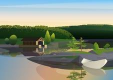 Vektorbild av det stillsamma landskapet med den avlägsna den husskeppsdockan och segelbåten på kust av sjön i grön natur vektor illustrationer