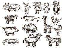 Vektorbild av djur Djuret skissar - elefanten, krokodilen, apan, giraffet, galten, kamlet, björnen, höna, fågeln, grodan, lejonet Royaltyfria Foton