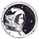 Vektorbild av en astronautkvinna Kvinna i utrymmehjälm stock illustrationer