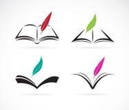Vektorbild av en bok och en fjäder vektor illustrationer