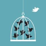 Vektorbild av en fågel i buren och yttersidan buren Royaltyfria Bilder