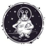Vektorbild av en främling med en planet i hans hand Runt emblem stock illustrationer