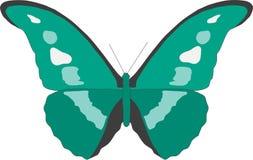 Vektorbild av en grön fjäril med vita fläckar stock illustrationer