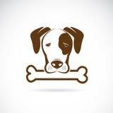 Vektorbild av en hund och ett ben stock illustrationer